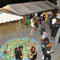 Giant Settlers of Catan game and exhibition stands at Liburnicon 2014.